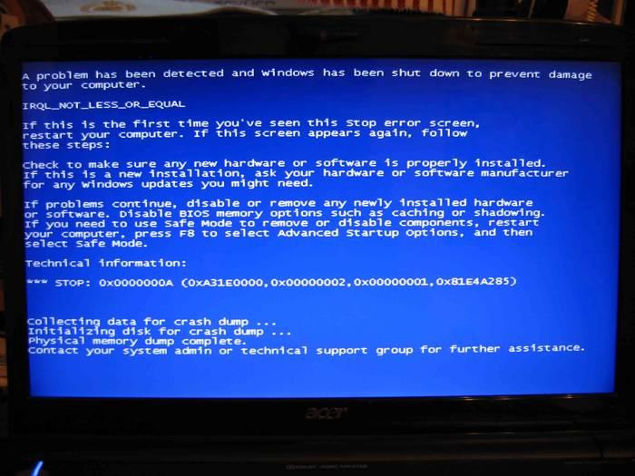 Что делать, если появился синий экран на ноутбуке
