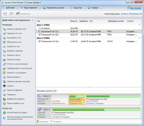 Работа с загрузочной флешкой Acronis Disk Director