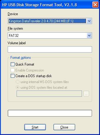 Программа HP USB Disk Storage Format Tool для форматирования флеш-накопителей