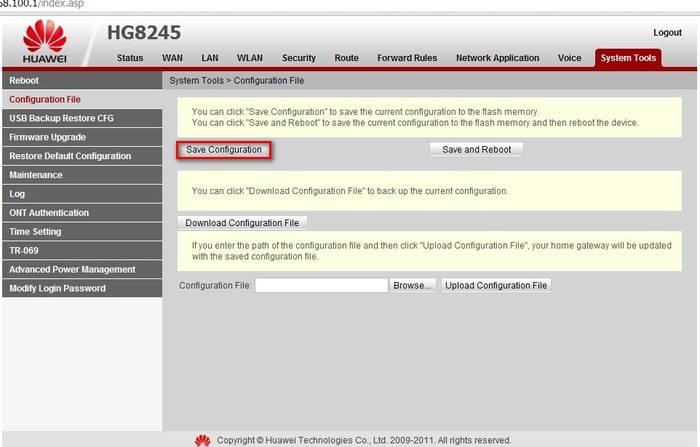 Настройка роутера Huawei HG8245