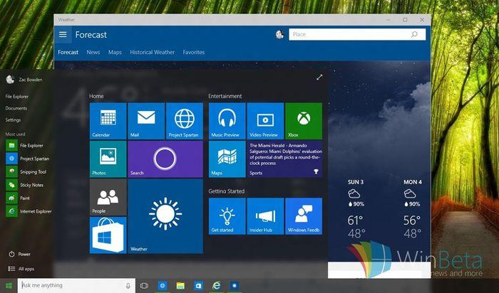 Windows 10 build 10102: размытая прозрачность в меню «Пуск» и 3D-плитки