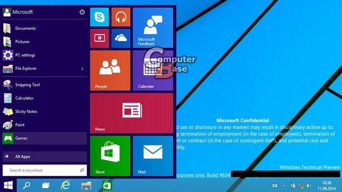 Меню «Пуск» в Windows 9 в действии
