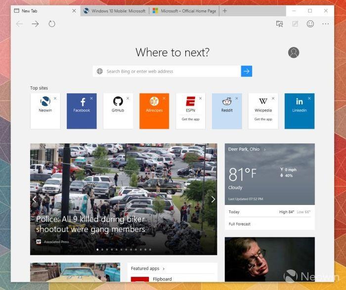 Microsoft Edge продолжает принимать форму: обновленная страница «Новая вкладка»