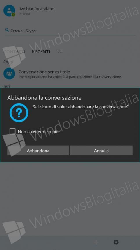 Скриншоты Skype UWP для Windows 10 Mobile