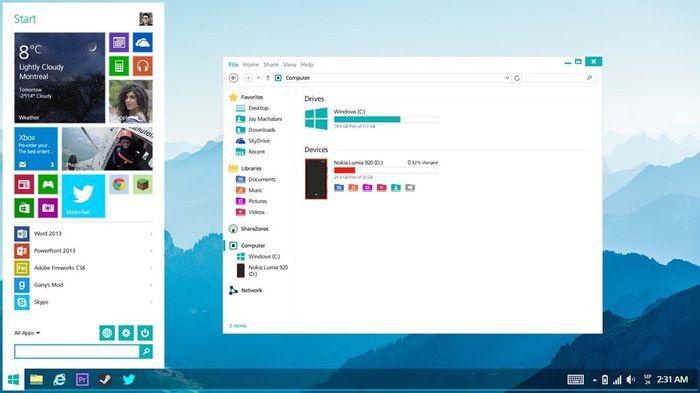 Удивительный концепт меню «Пуск» для Windows 8.2