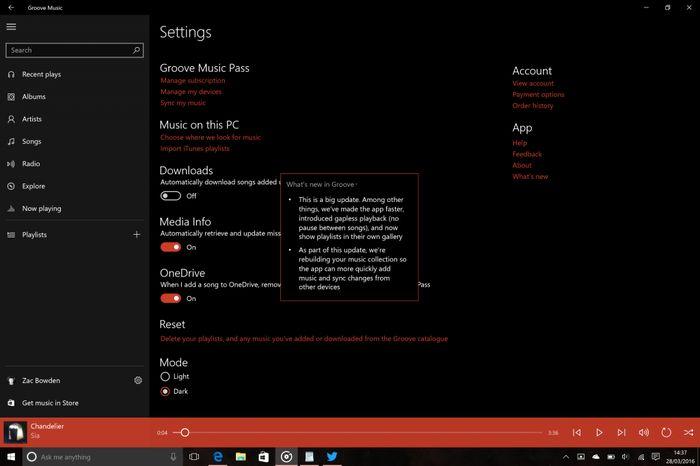 Windows 10 Redstone: улучшенная синхронизация между устройствами и новые изменения в Groove Music