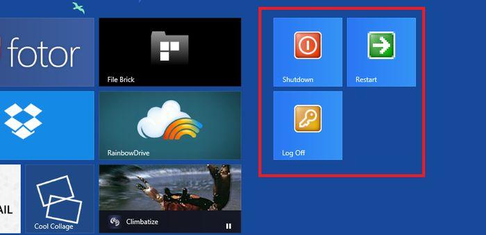 Как добавить кнопки для выхода, перезагрузки и выключения ПК на стартовый экран в Windows 8