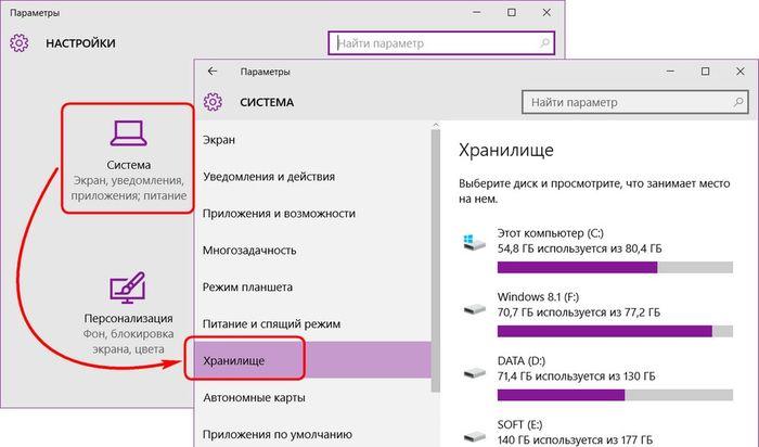 Встроенный анализатор дискового пространства Windows 10