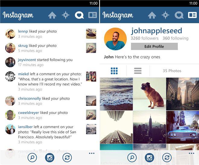 Официальное приложение Instagram для Windows Phone 8