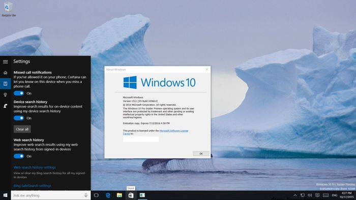 Утечка Windows 10 build 10568