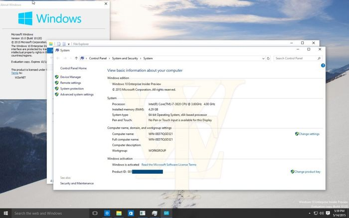 Скриншоты Windows 10 build 10120