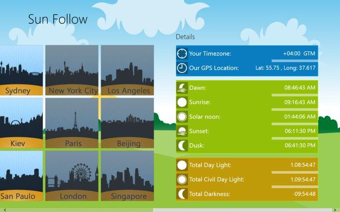 Приложение Sun Follow для Windows 8 и RT – следите за продолжительностью дня и ночи в различных городах