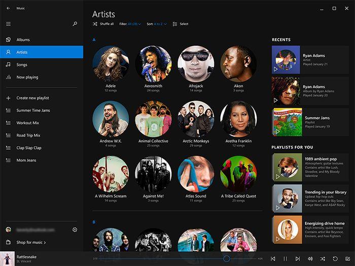 Windows 10: вот как может измениться дизайн приложения «Музыка»