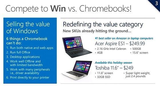 Microsoft: планшеты с Windows за $99 и ноутбуки за $199 появятся этой осенью