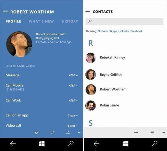 Windows 10 Desktop и Mobile: взгляд на новые приложения контактов и почты