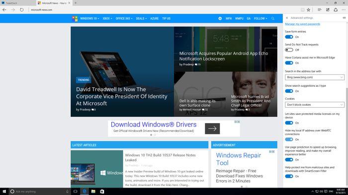 Галерея скриншотов Windows 10 Insider Preview Build 10537
