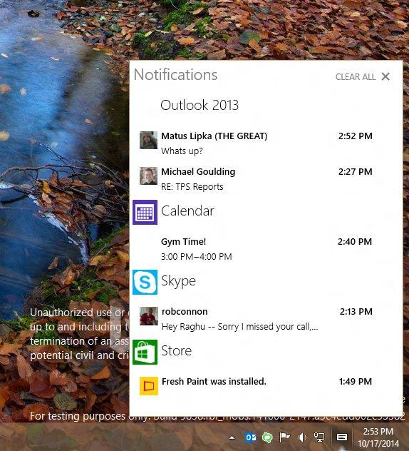 Windows 10: Action Center приносит уведомления на рабочий стол