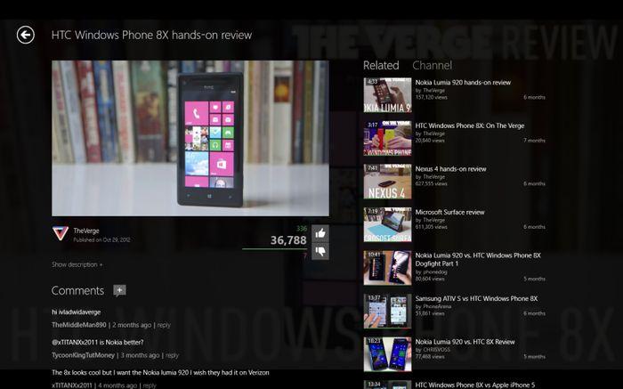 Популярное на Windows Phone приложение MetroTube добралось до Windows 8 и RT