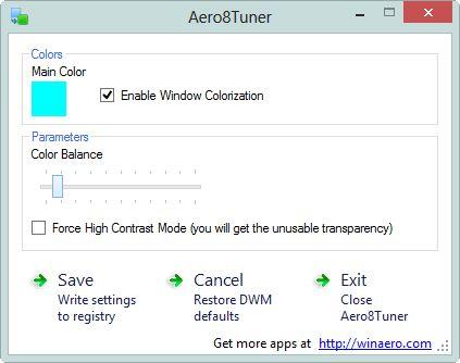 Areo8Tuner: небольшой намек на Aero Glass в Windows 8