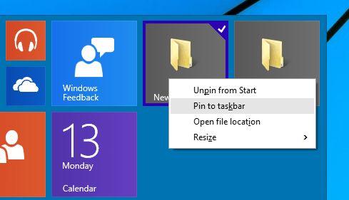 Как закрепить папку на панели задач в Windows 10 TP