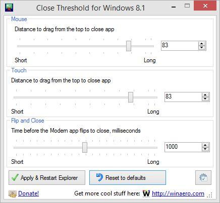 Close Threshold: инструмент для настройки закрытия Modern-приложений в Windows 8.1