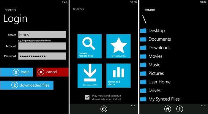 Tonido для Windows Phone – удаленный доступ / загрузка файлов и стриминг музыки и видео с компьютера