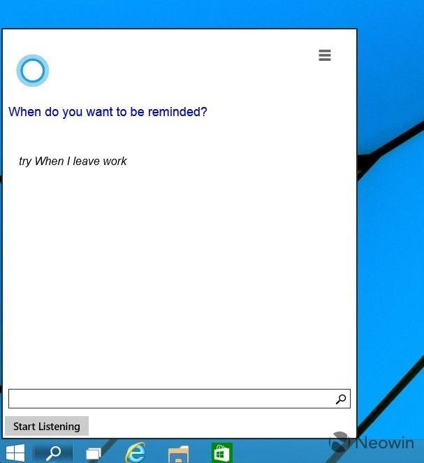 Cortana в Windows 10 на новых скриншотах