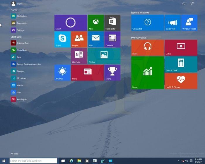 Windows 10: скриншоты сборки 10031