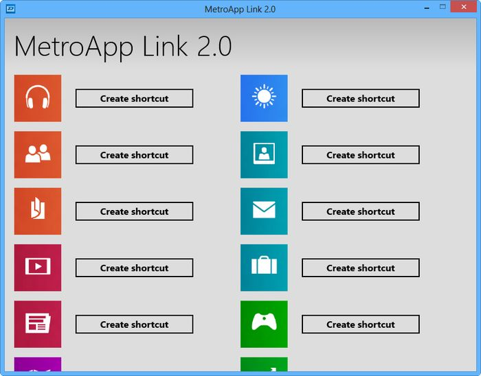 MetroApp Link: Создаем на рабочем столе ярлыки для родных Metro-приложений в Windows 8