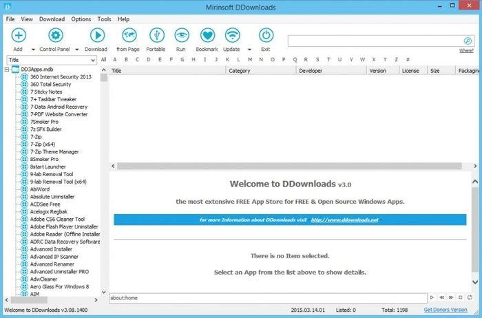 DDownloads – портативная утилита для поиска, скачивания и установки программ в Windows