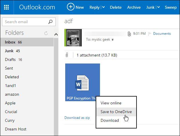 Outlook.com вскоре позволит сохранять вложения непосредственно в OneDrive
