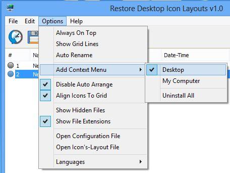 ReIcon – портативный инструмент для запоминания и восстановления позиции значков на рабочем столе
