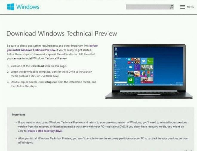 На официальном сайте Microsoft по ошибке была опубликована страница для Windows Technical Preview for Enterprise