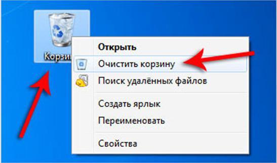 очистить корзину на компьютере